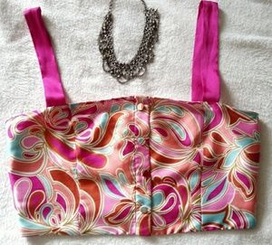 NWT sz L Zara pink psychadelic crop top